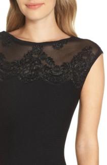 ELIZA J Lace Trim A-Line Sweater Black Dress 4