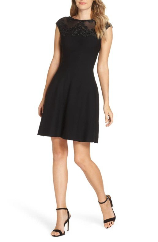 ELIZA J Lace Trim A-Line Sweater Black Dress