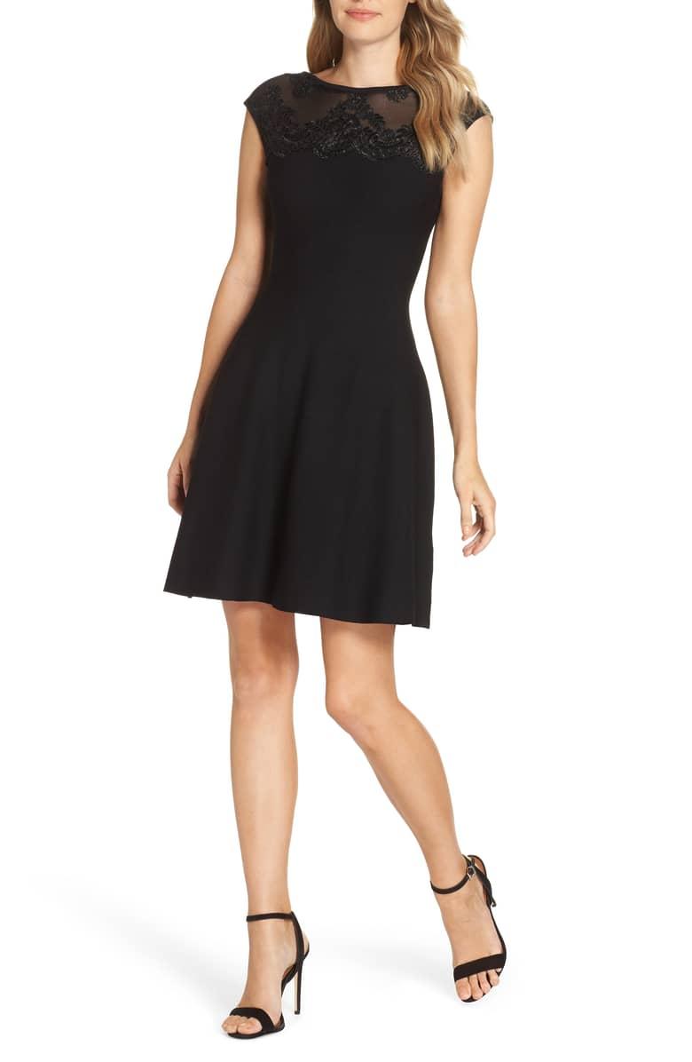 ELIZA J Lace Trim A-Line Sweater Black Dress
