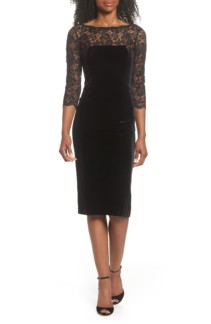 ELIZA J Lace & Velvet Sheath Black Dress