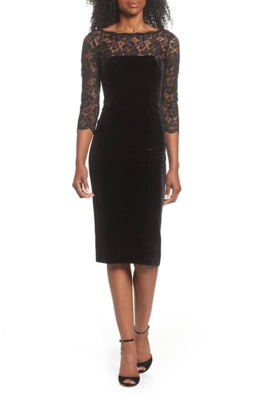 ELIZA J Lace & Velvet Sheath Black Dress
