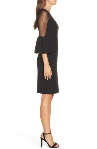 ELIZA J Point d'Esprit Sheath Black Dress 2