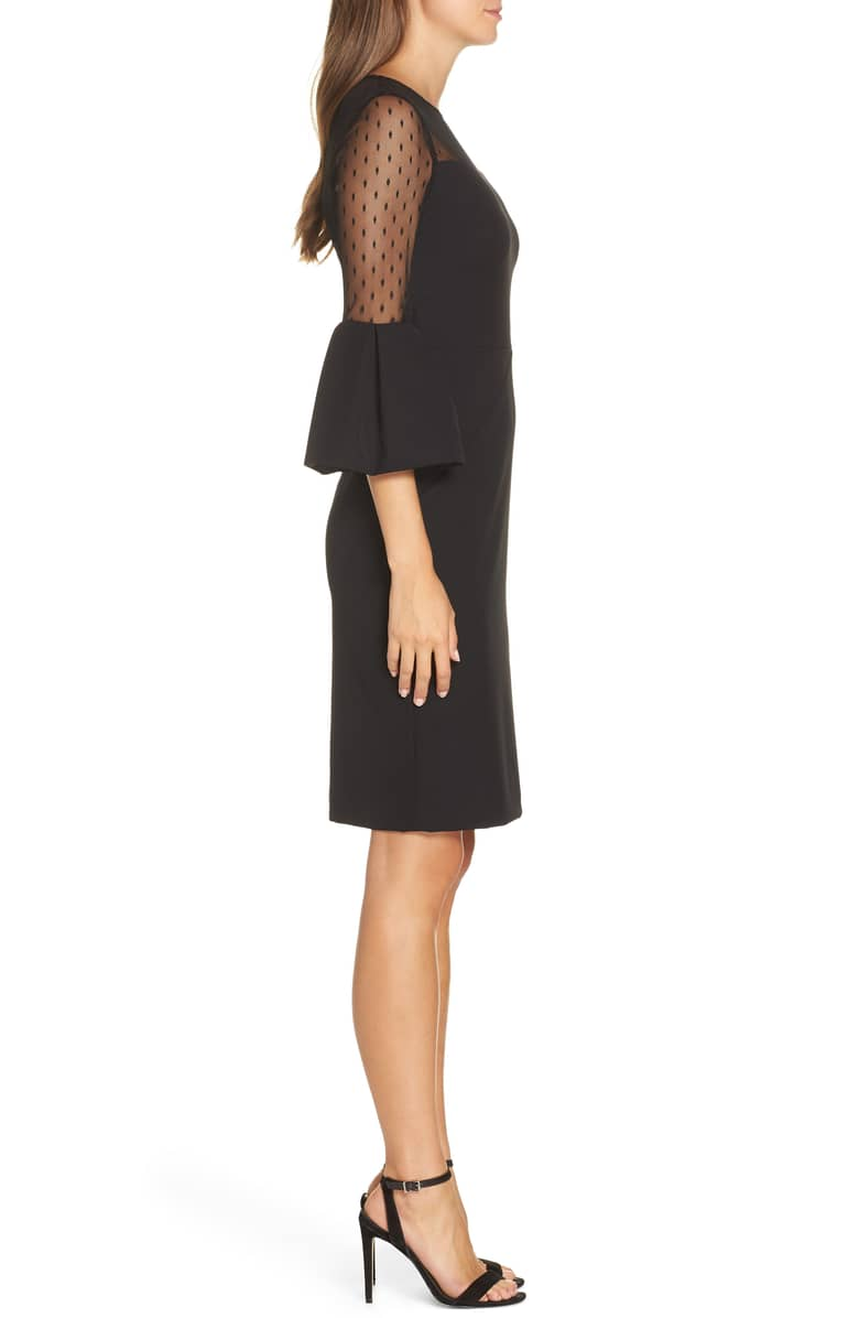 ELIZA J Point d'Esprit Sheath Black Dress 2