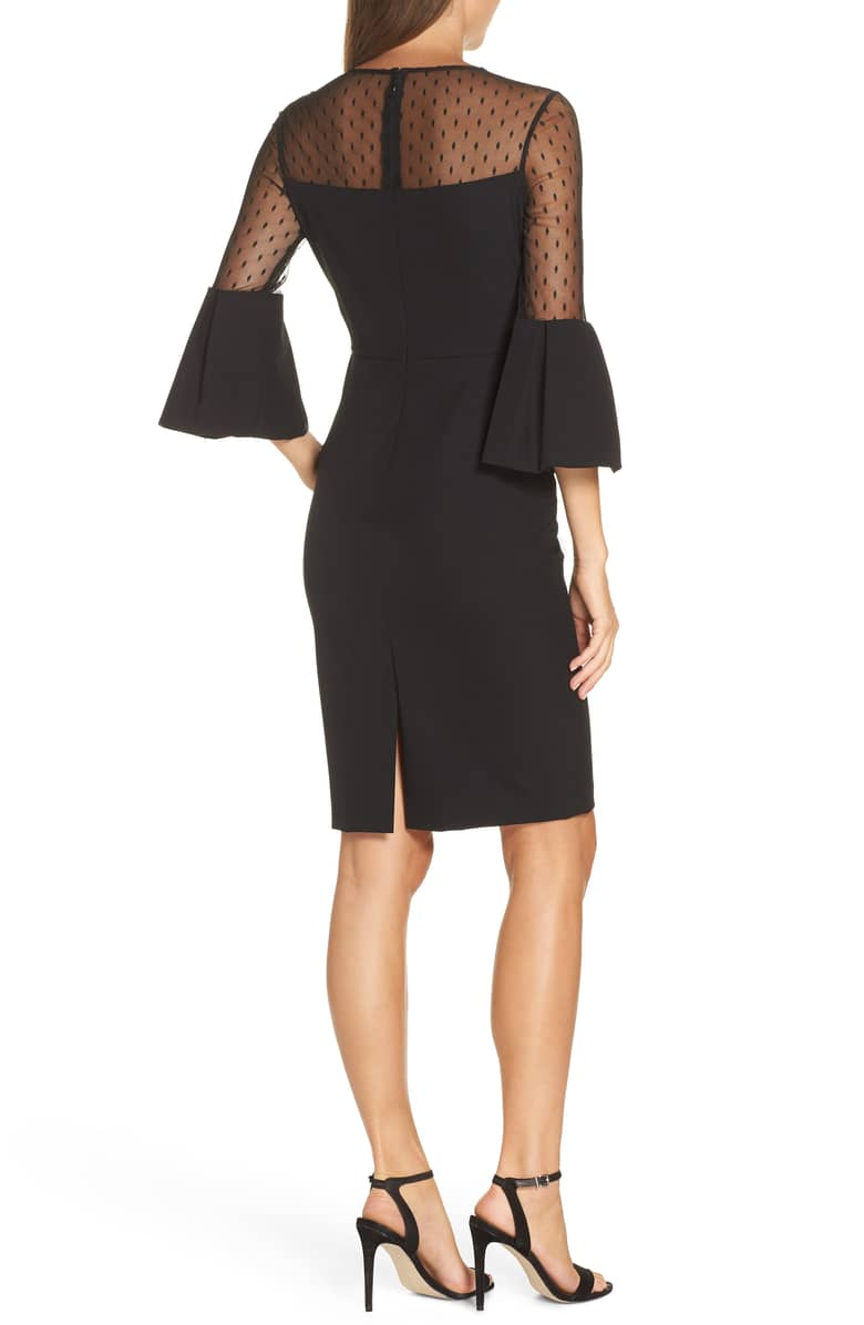 ELIZA J Point d'Esprit Sheath Black Dress 3