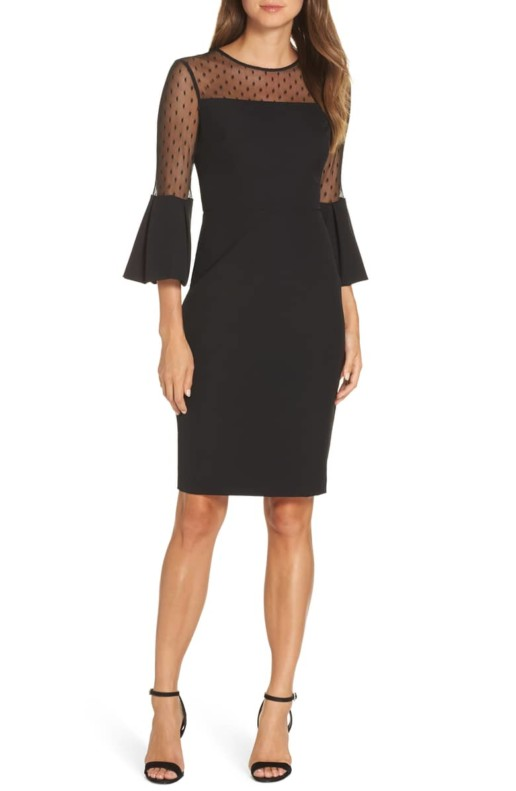 ELIZA J Point d'Esprit Sheath Black Dress