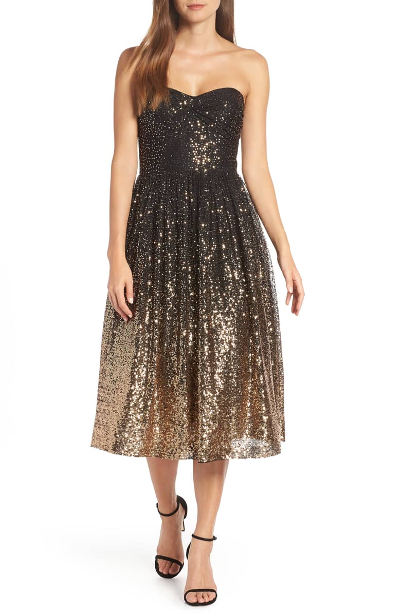 Eliza J Strapless Midi Black Gold Dress We Select Dresses