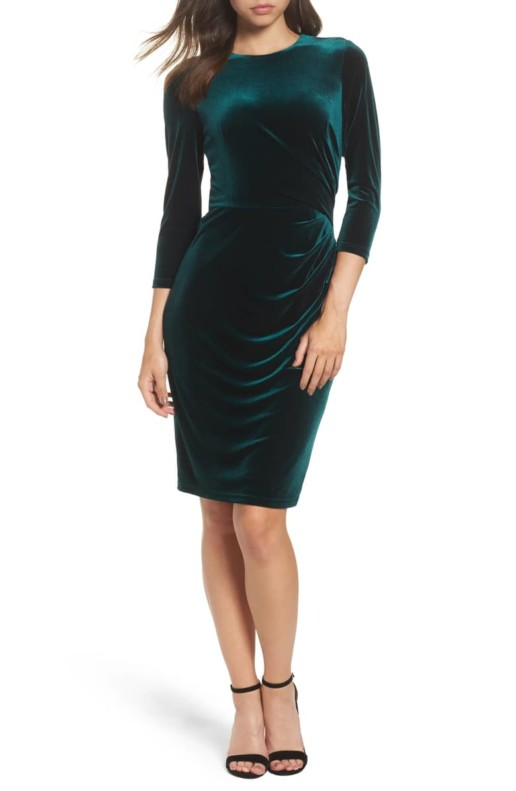 ELIZA J Velvet Sheath Green Dress