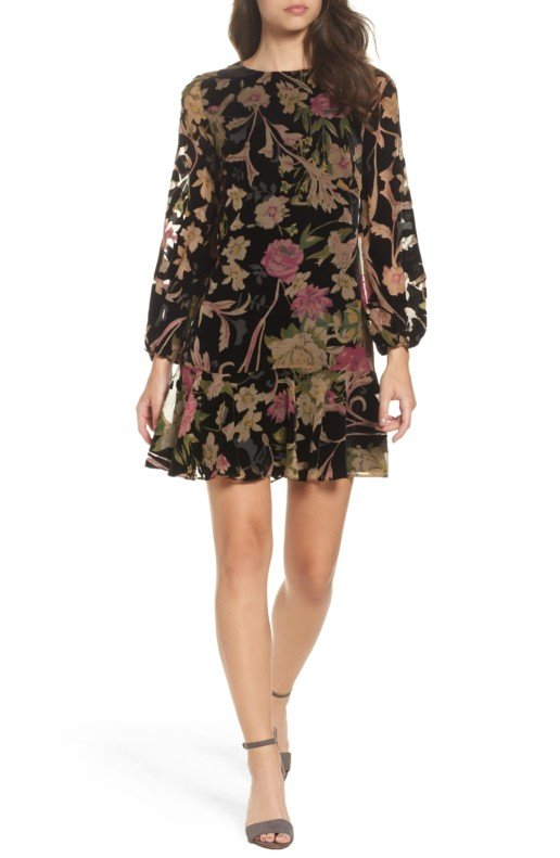 ELIZA J Velvet Shift Black / Floral Printed Dress