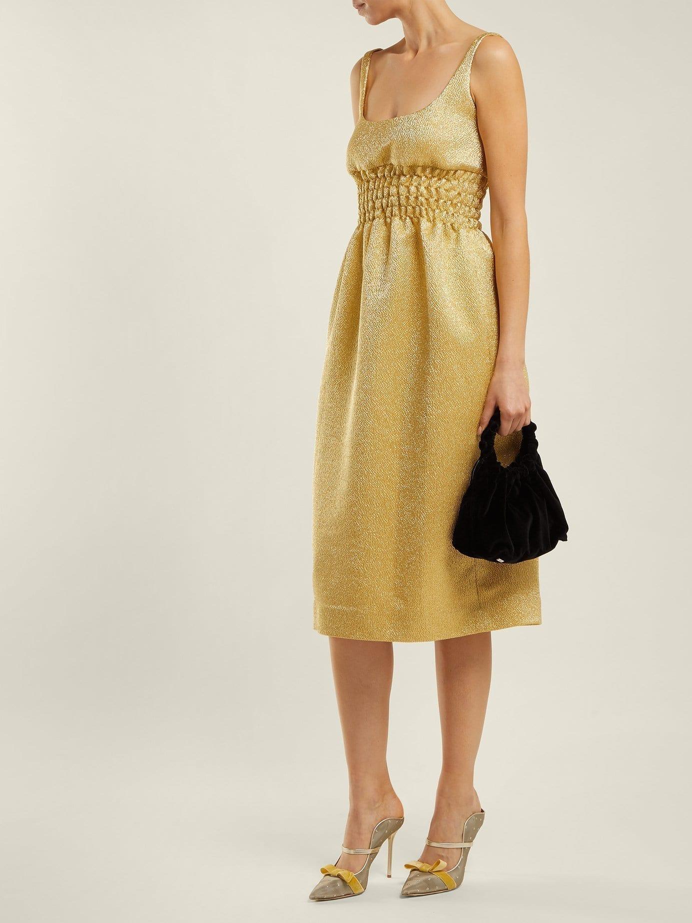 EMILIA WICKSTEAD Giovanna Ruched Lamé Midi Gold Dress