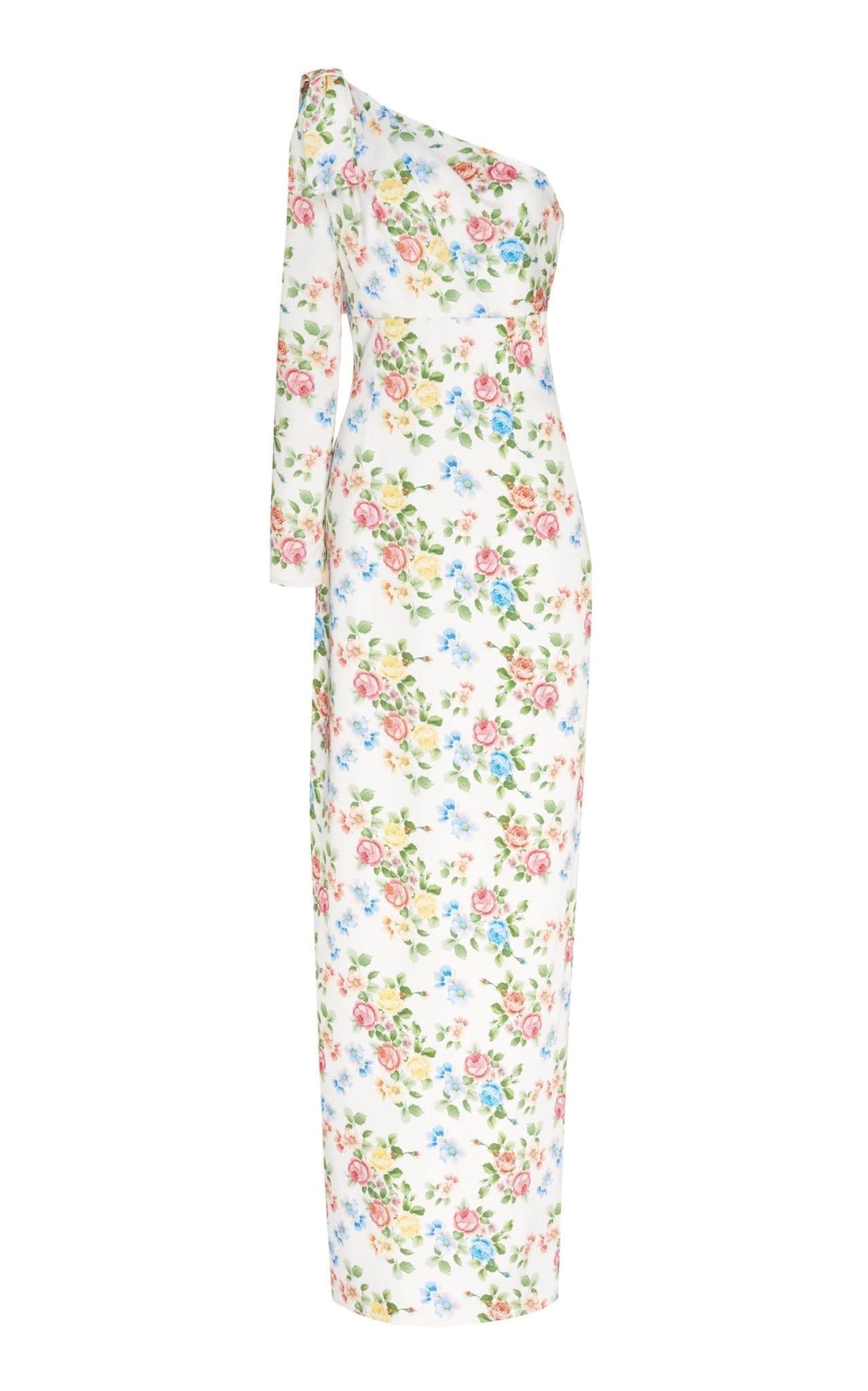 EMILIA WICKSTEAD Nadia Draped One-Shoulder Floral Dress