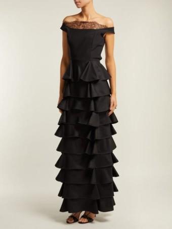 EMILIO DE LA MORENA Diana Off-The-Shoulder Tiered Silk Black Gown