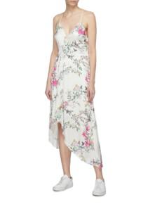 EQUIPMENT X Tabitha Simmons 'estille' Floral Print High-low Slip White Dress 2