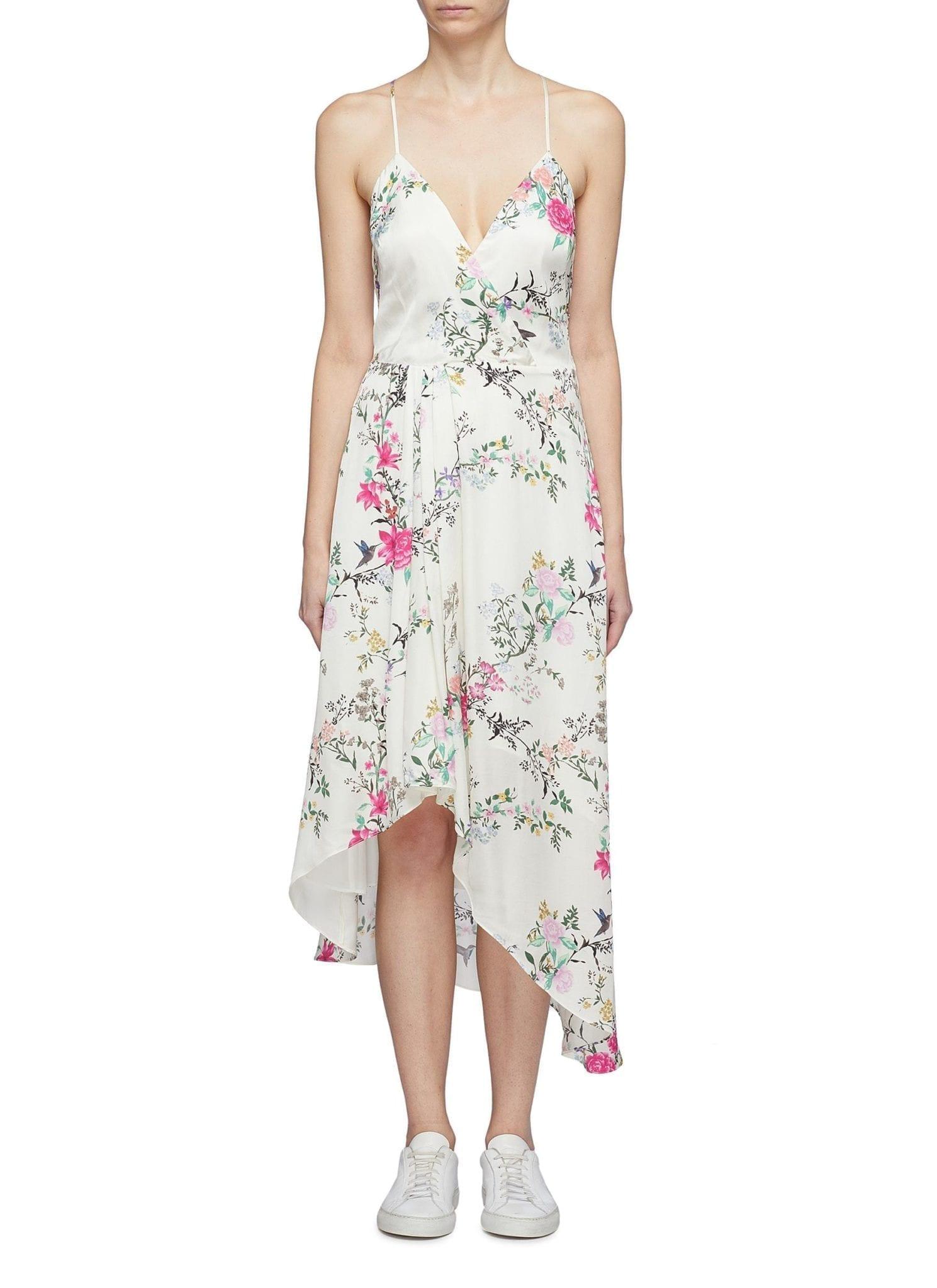 EQUIPMENT X Tabitha Simmons 'estille' Floral Print High-low Slip White Dress