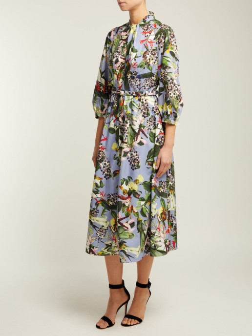 ERDEM Adrienne Dream Bird-print Blue Dress 2