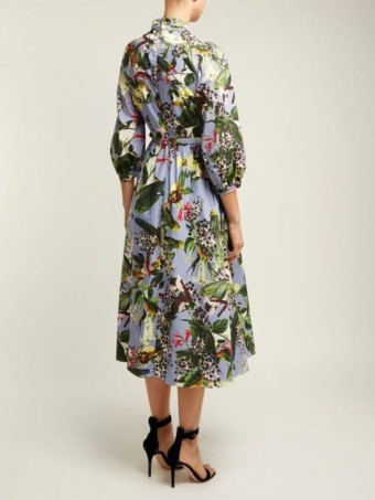 ERDEM Adrienne Dream Bird-print Blue Dress 3