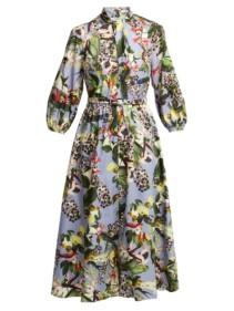 ERDEM Adrienne Dream Bird-print Blue Dress 4