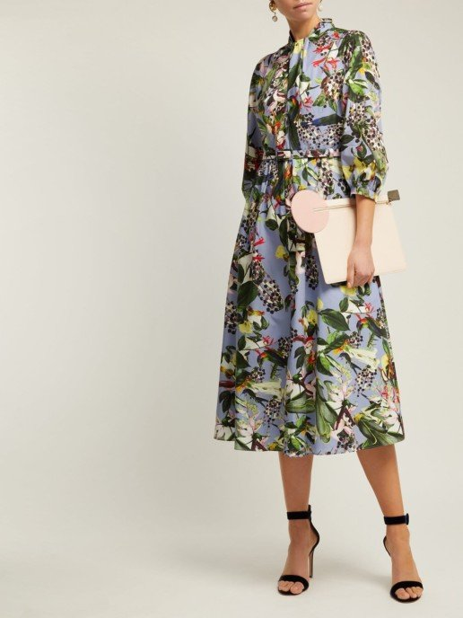 ERDEM Adrienne Dream Bird-print Blue Dress