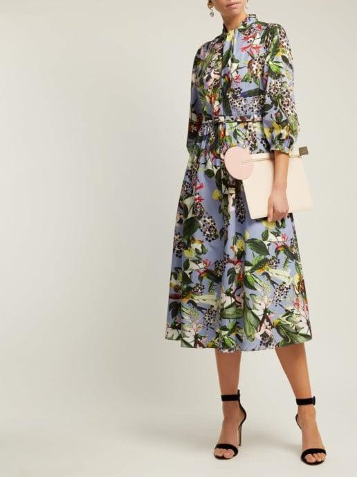 ERDEM Adrienne Dream Bird-print Blue Dress