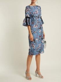 ERDEM Alexandra Tulip Dream Floral-print Cloqué Blue Dress