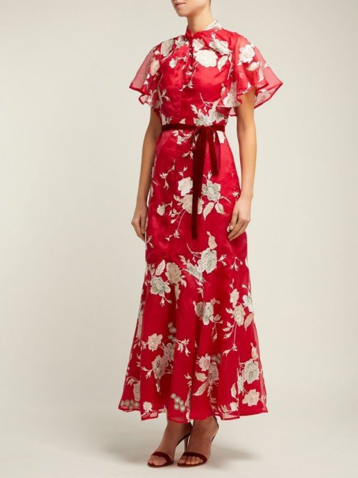 ERDEM Celestina Gertrude-Embroidered Silk-Organza Red Gown