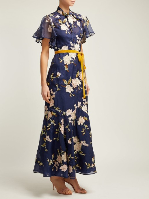 ERDEM Celestina Gertrude-embroidered Silk-organza Navy Gown