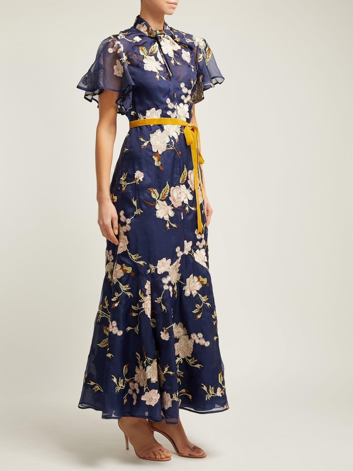 ERDEM Celestina Gertrude-embroidered Silk-organza Navy Gown