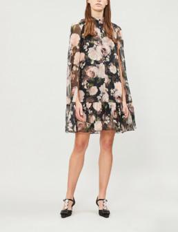 ERDEM Constantine Floral-Print Silk Mini Black Pink Dress