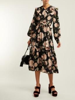 ERDEM Georganna Dutch Petal-Print Silk Midi Black Floral Dress
