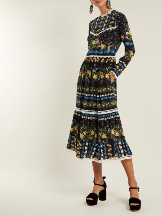 ERDEM Georgie Mariko Meadow-Print Silk Black Dress