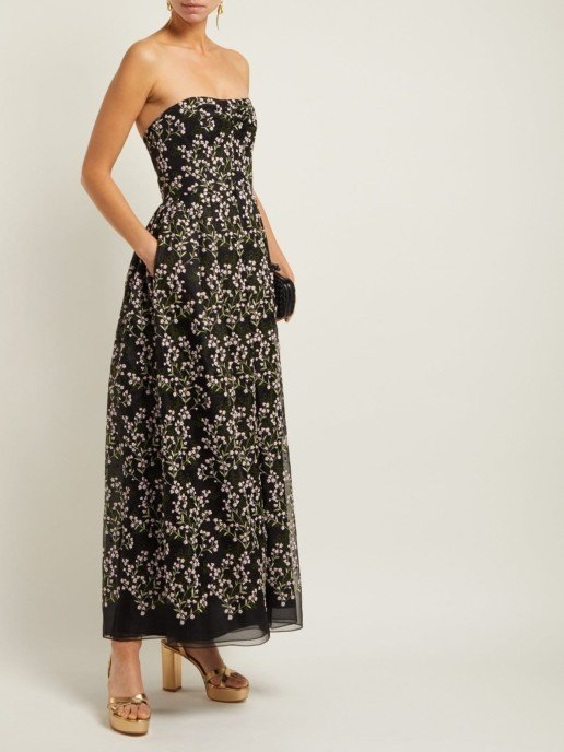 ERDEM Karenna Deep Sea-Embroidered Organza Black Gown