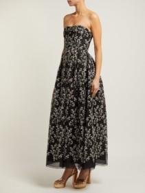 ERDEM Karenna Deep Sea-embroidered Organza Black Gown 2
