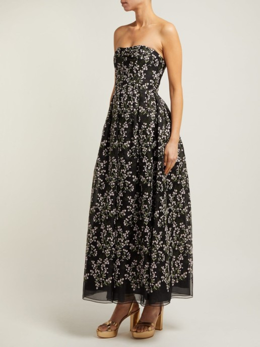ERDEM Karenna Deep Sea-embroidered Organza Black Gown 2