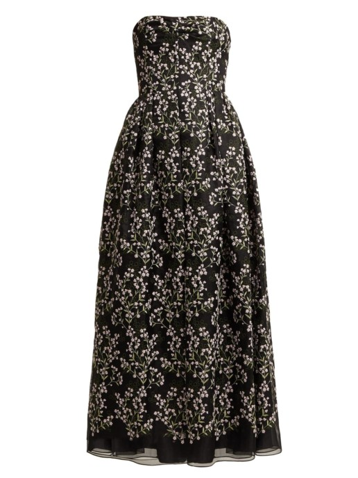 ERDEM Karenna Deep Sea-embroidered Organza Black Gown 3