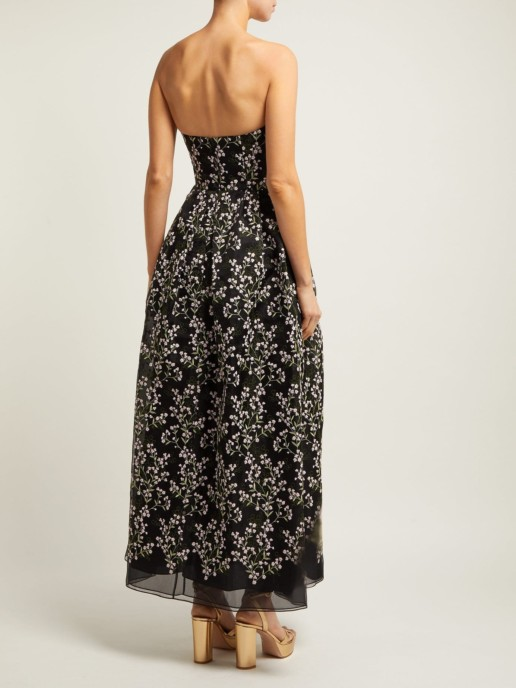 ERDEM Karenna Deep Sea-embroidered Organza Black Gown 4