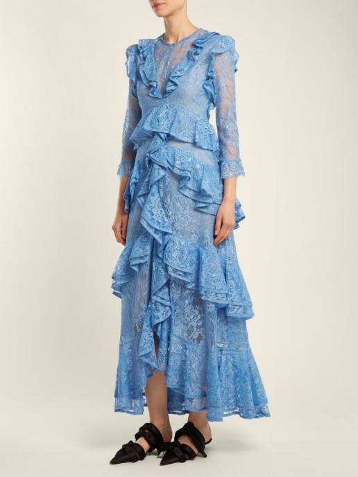 ERDEM Koral Ruffle Trimmed Lace Azure Blue Dress