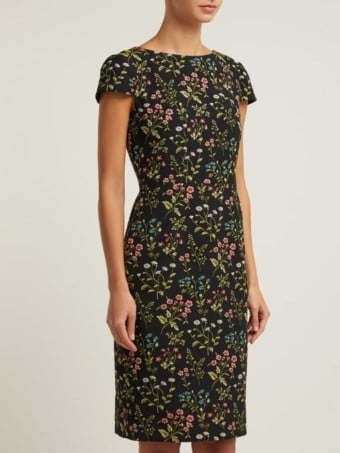 ERDEM Marion Floral-jacquard Cotton-blend Black Dress 2