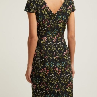 Cotton Marion We Floral Dress Select Jacquard Black Erdem Blend qaHFftfw