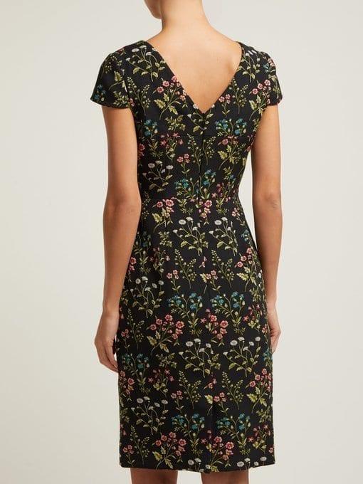 ERDEM Marion Floral-jacquard Cotton-blend Black Dress 3