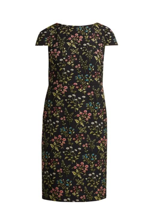 ERDEM Marion Floral-jacquard Cotton-blend Black Dress 4