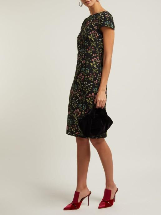 ERDEM Marion Jacquard Cotton Blend Black / Floral Printed Dress