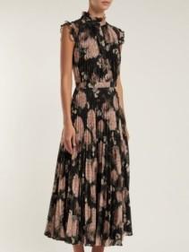 ERDEM Roisin Dutch Petal-Print Pleated Midi Black Dress