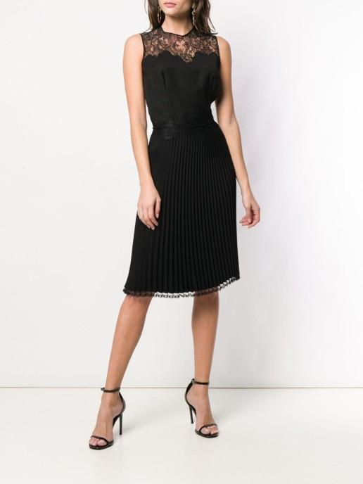 ERMANNO SCERVINO Lace Embellished Pleated Black Dress
