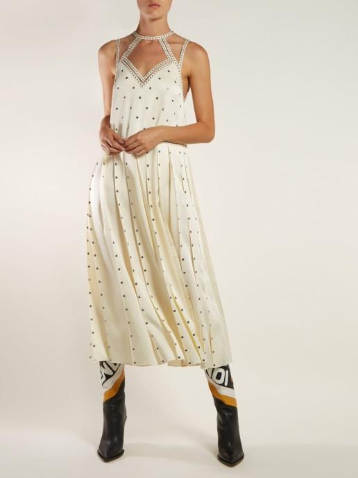 FENDI Studded Pleated Satin Midi Ivory Dress