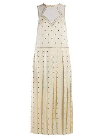 FENDI Studded Pleated Satin Midi Ivory Dress 2