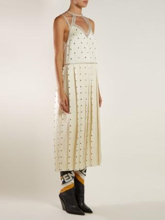 FENDI Studded Pleated Satin Midi Ivory Dress 4