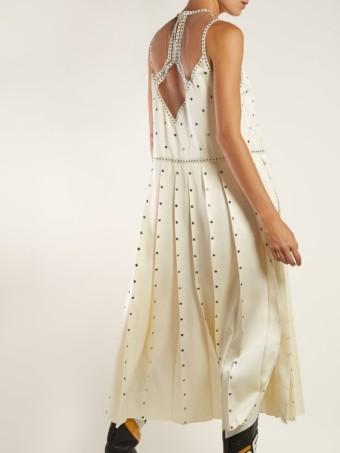 FENDI Studded Pleated Satin Midi Ivory Dress 5