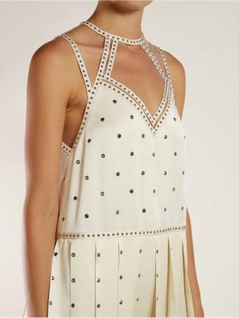 FENDI Studded Pleated Satin Midi Ivory Dress 6