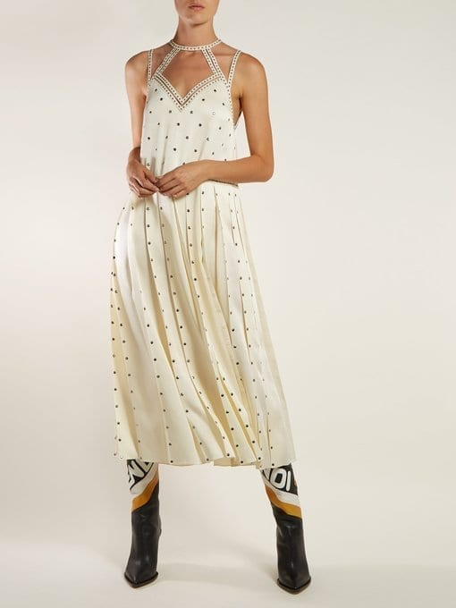 FENDI Studded Pleated Satin Midi Ivory Dress