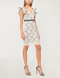 FOREVER UNIQUE Frill-Shoulder Stretch-Lace Cream Dress