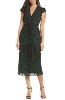 FOXIEDOX Remmy Embroidered Midi Green Multi Dress